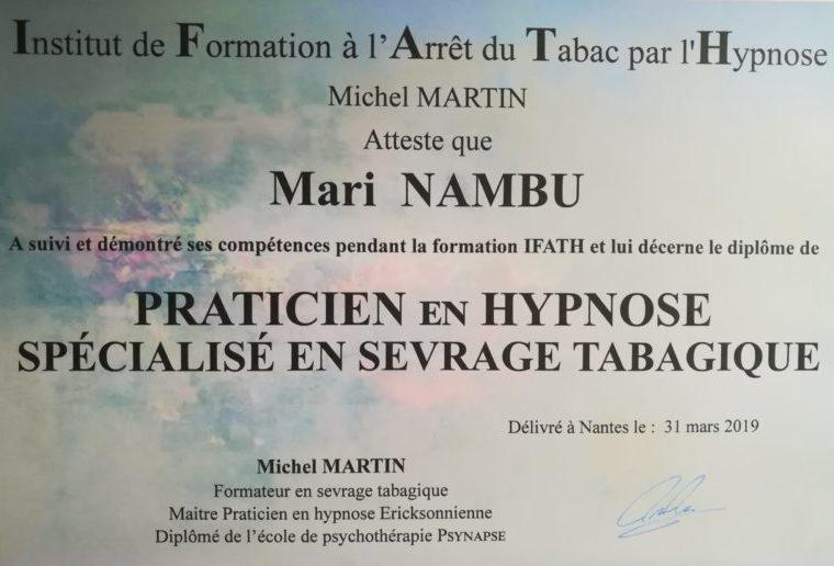 Certificat formation arrêt du tabac