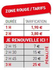 Tarifs de stationnemment zone rouge à Tours